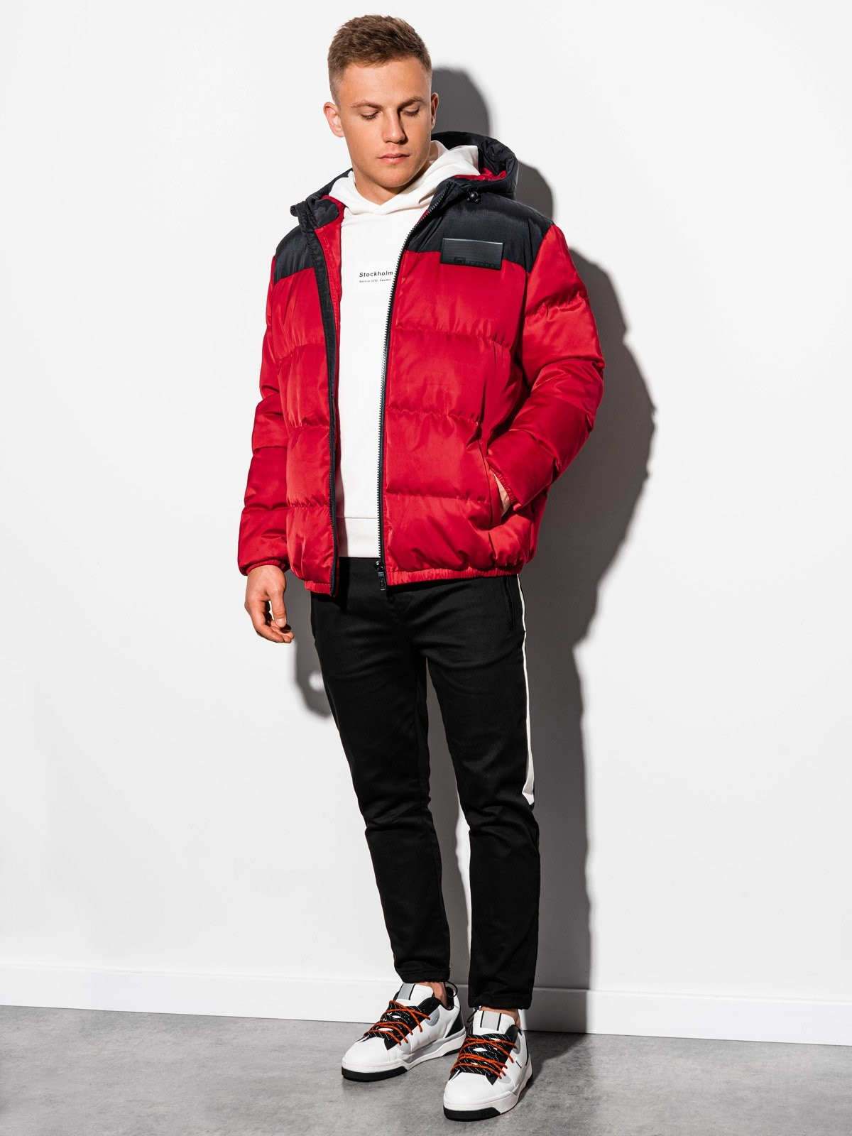 Ombre Kurtka męska zimowa pikowana C458 - czerwona