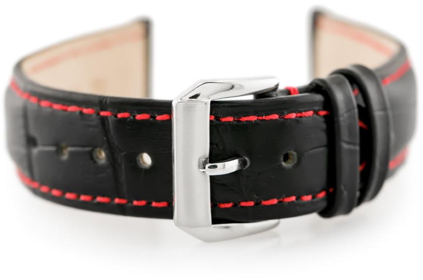 Pacific Pasek skórzany do zegarka W64 czarny/czerwony 22mm hurtownia_tayma-10140