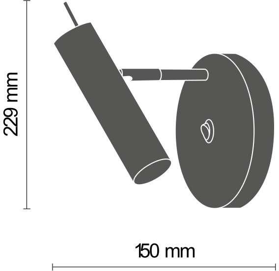Amplex Kinkiet LAMPA ścienna AMOS 0173 okrągła OPRAWA metalowa tuba regulowana czarna złota