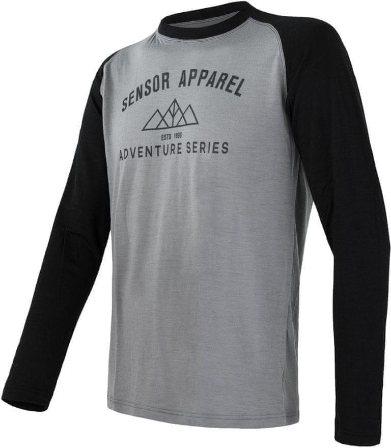 Sensor Merino Active Pt Adventure Męska Koszulka z długim rękawem Szara/Czarna S