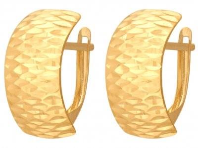 Lovrin Złote wiszące kolczyki 585 Lekko wygięte,blaszkowe 18580 s