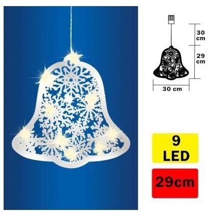FK Technics LED Dekoracja świąteczna do okna dzwonek 9xLED/2xAA