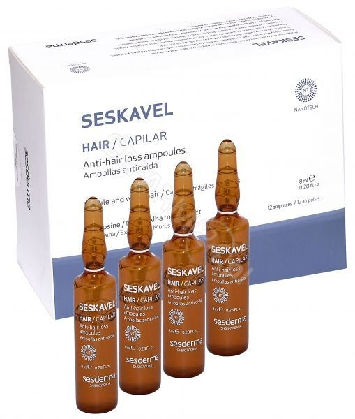 SesDerma Seskavel ampułki przeciw wypadaniu włosów 12 amp po 8 ml