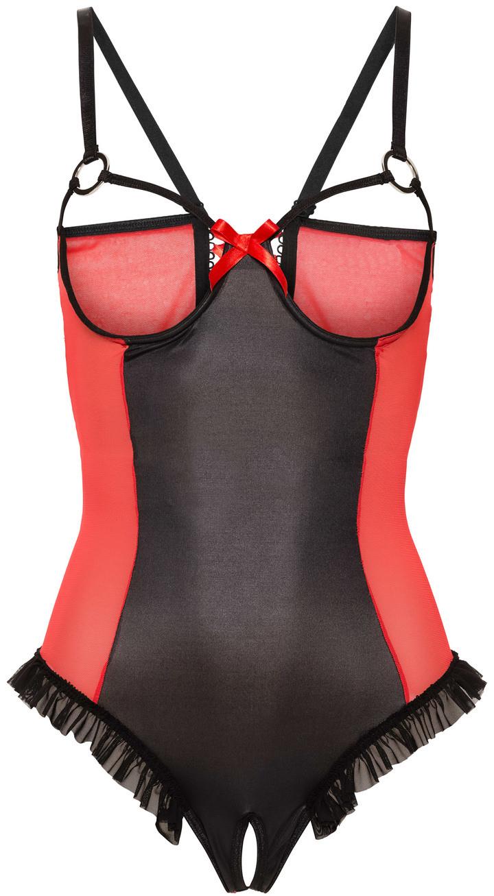 Bonprix Body ze stringami ouvert czarno-czerwony