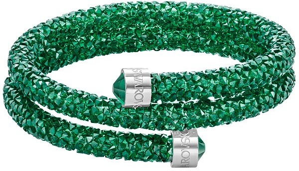 Swarovski Crystaldust Double Bangle, Green Green Stainless steel