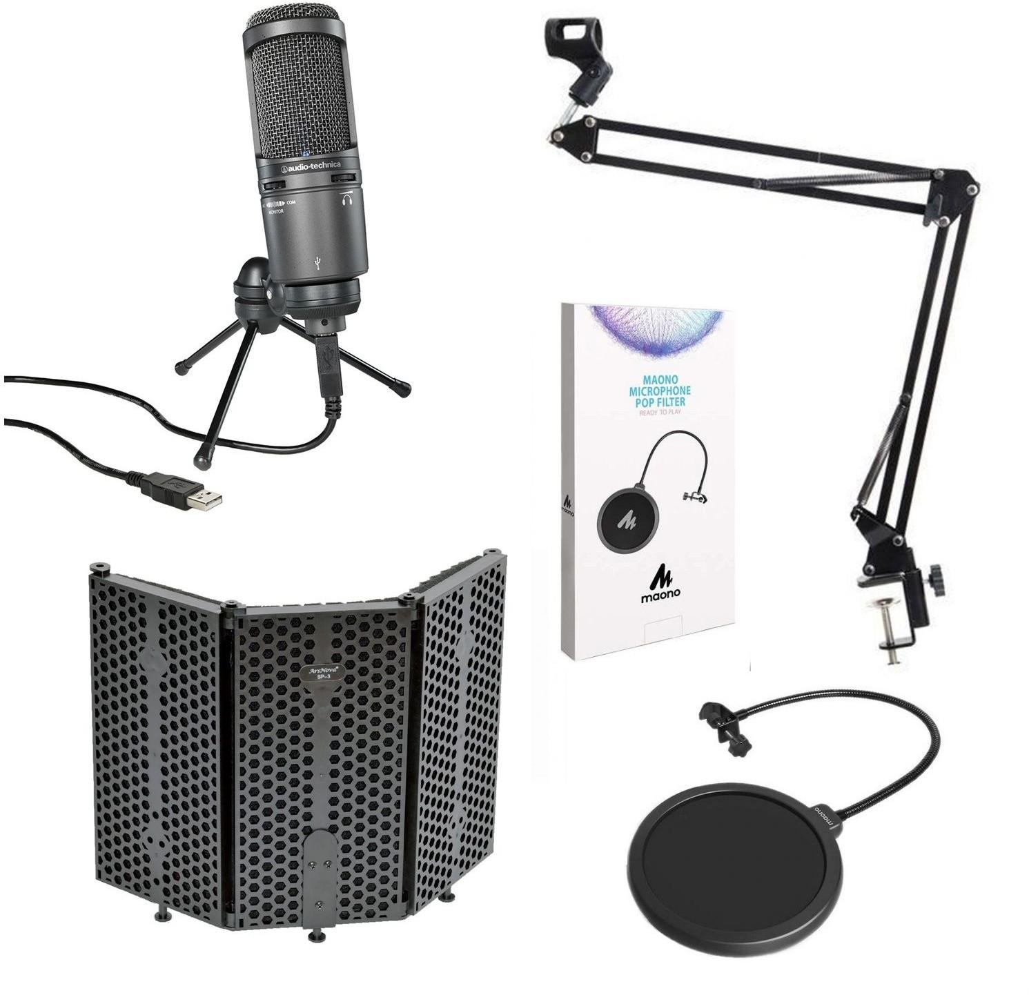 Audio Technica AT2020USB+ - mikrofon studyjny + pop filtr + ekran akustyczny + statyw