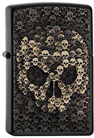 Zippo 16884zapalniczka Skulls in SkullBlack MatteSpring 2017, chrom, srebrny, 5.8x 3.8x 2.0cm 16884