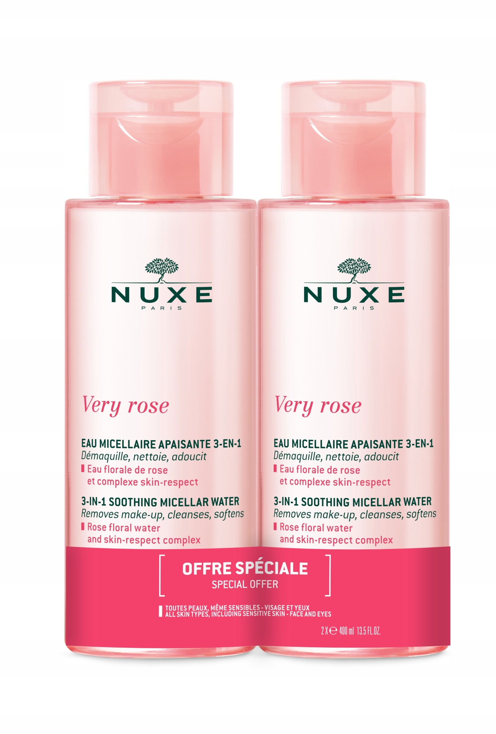Nuxe Very Rose Woda Micelarna Łagodząca Duopak
