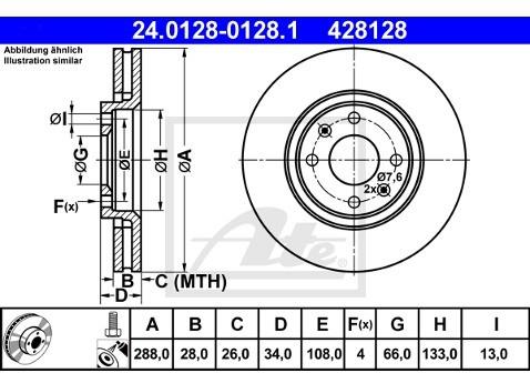 ATE TARCZA HAM 24.0128-0128.1 CITROEN C5 2.2HDI, 3.0 V6 01-04, 2.0HDI 04-, XANTIA 3.0I 24V 97-98  24.0128-0128.1