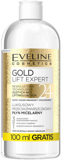 Eveline Gold Lift Expert, płyn micelarny, 500 ml