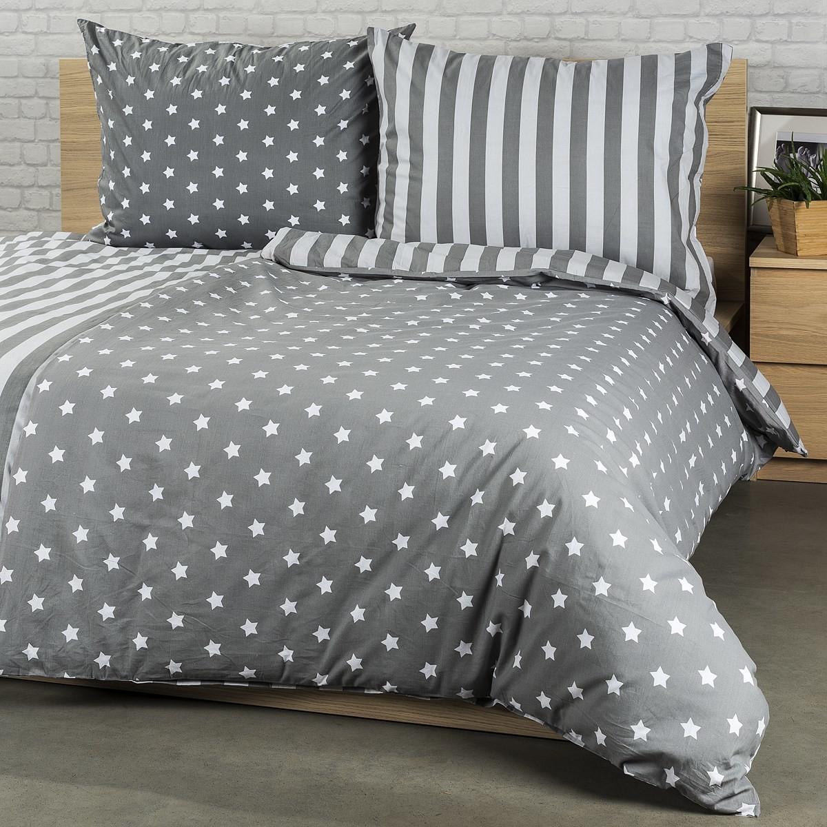 4Home Pościel bawełniana Stars szary, 160x200 cm, 70x80 cm