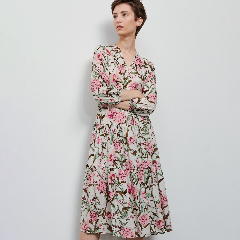 Reserved Sukienka w kwiaty - Kremowy