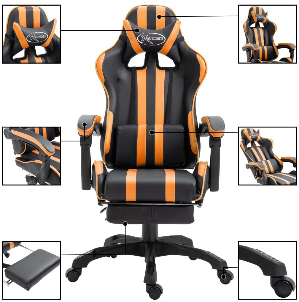 vidaXL vidaXL Fotel dla gracza z podnóżkiem, pomarańczowy, PU