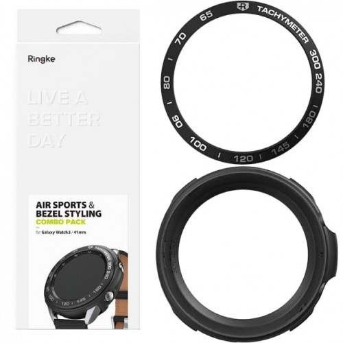 Rearth Etui + Ramka Ringke Air Sports + Bezel Combo Galaxy Watch 3 41mm, czarne 8809758101739