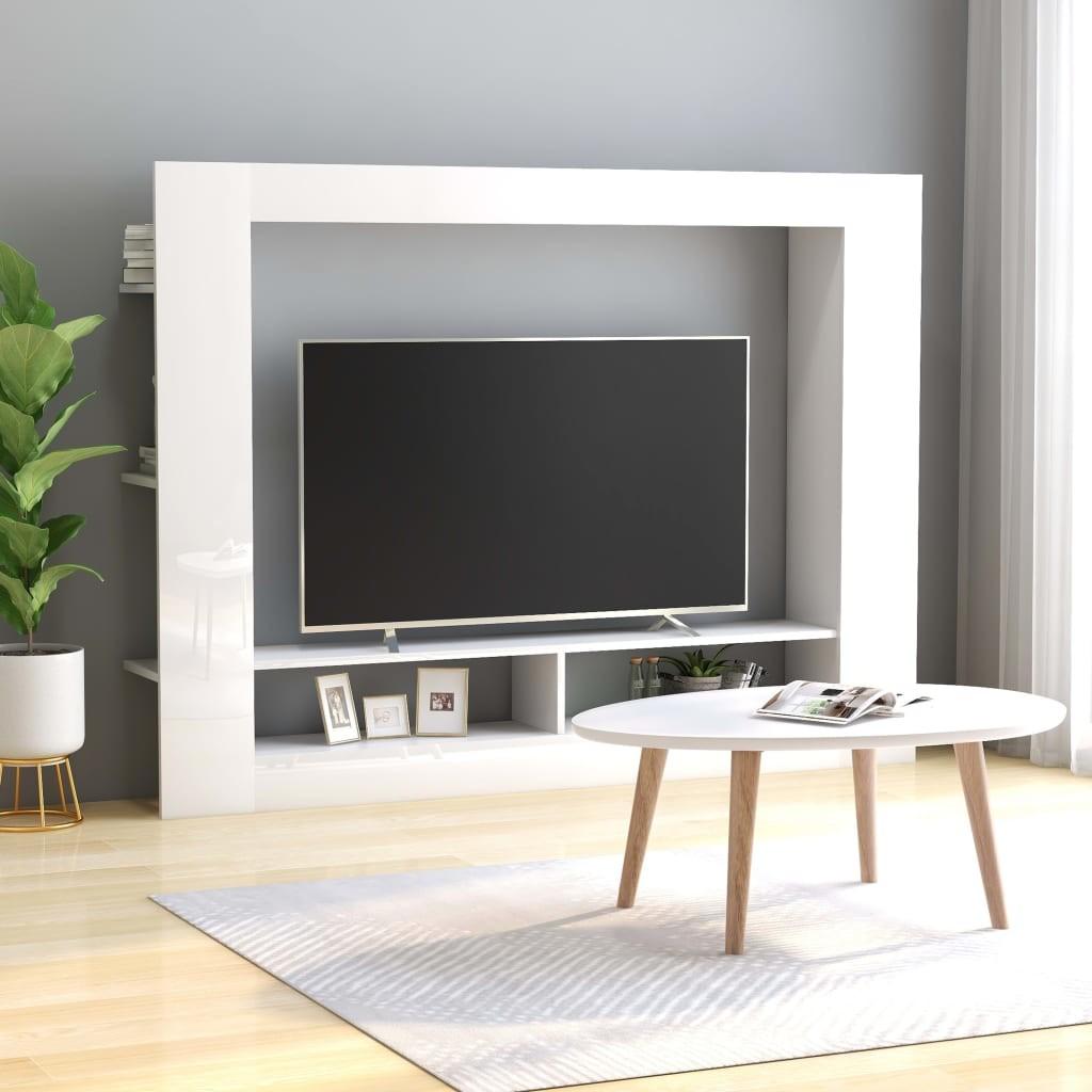 vidaXL Szafka TV, wysoki połysk, biała, 152x22x113 cm, płyta wiórowa