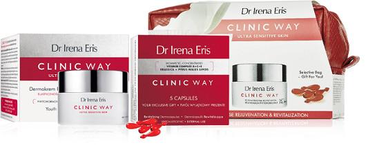 Dr Irena Eris Clinic Way 1° dermokrem aktywnie wygładzający na dzień 50 ml + dermokapsułki rewitalizujące 5szt + kosmetyczka ZESTAW