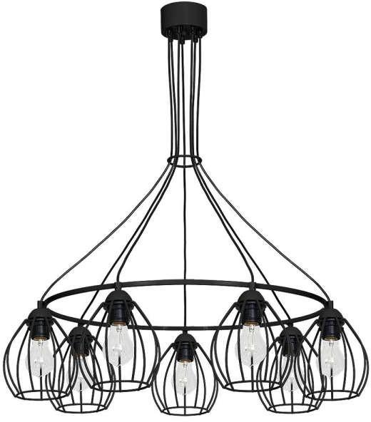 Milagro Druciana LAMPA wisząca DON 752 metalowa OPRAWA okrąg ZWIS klatki loft czarne 752