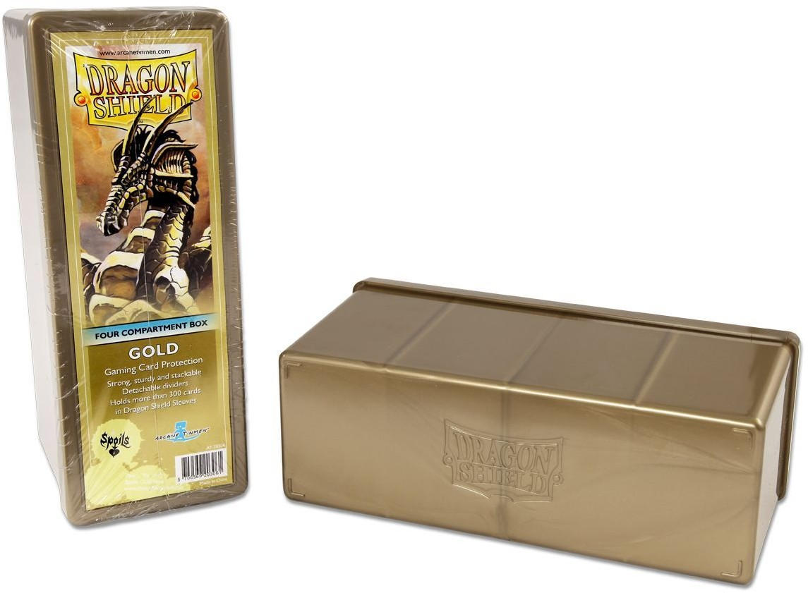 Arcane Tinmen Dragon Shield - 4 Compartment Storage Box - Gold