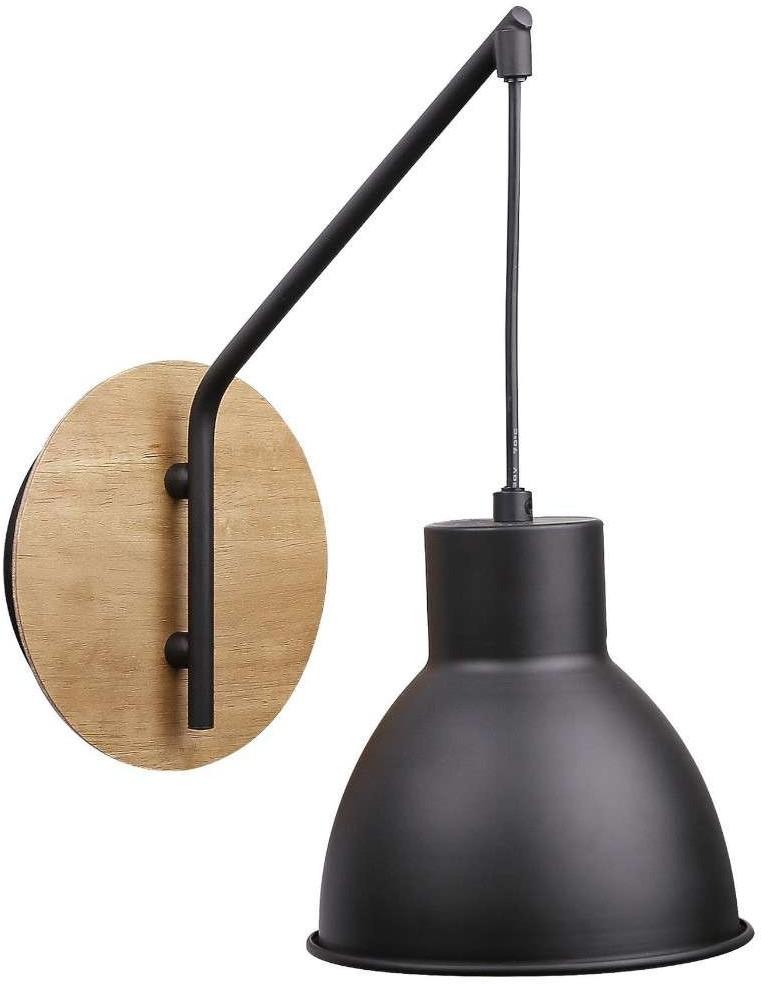 Candellux Lighting kinkiet na wysięgniku czarny loft VARIO 21-73495 lampa ścienna drewno z czarnym kloszem 21-73495