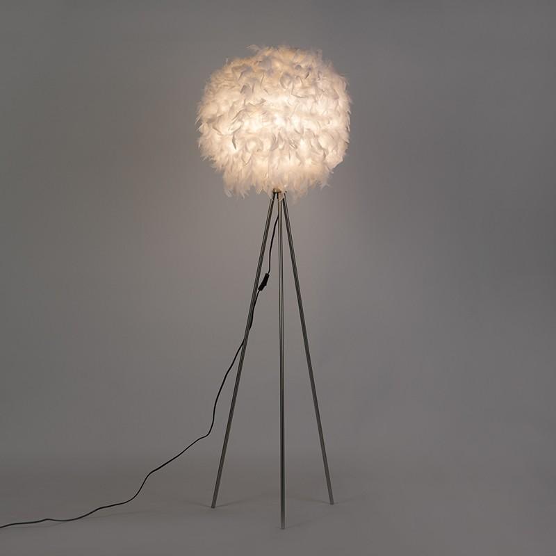 QAZQA Lampa podlogowa Feather biala 94758
