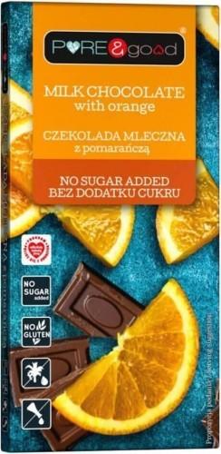 Czekolada mleczna z pomarańczą bez dodatku cukru 75 g Pure&Good