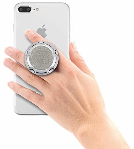 HR imotion Jumpop Glamour wysuwany uchwyt do urządzeń mobilnych / smartfonów [samoprzylepny I kompatybilny z uchwytami magnetycznymi I Do dużych i małych rąk I funkcja stojaka] - srebrne iskry 70310733