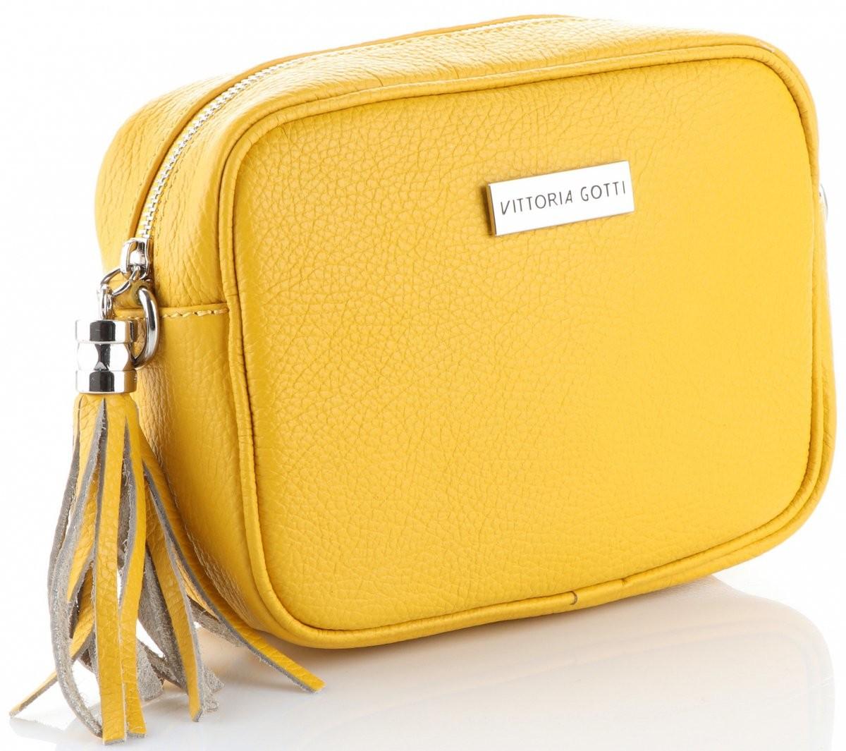 5f8196dcf1aa9 Vittoria Gotti Uniwersalne Torebki Skórzane Listonoszki na co dzień  renomowanej marki Vittoria Gotti Żółte (kolory