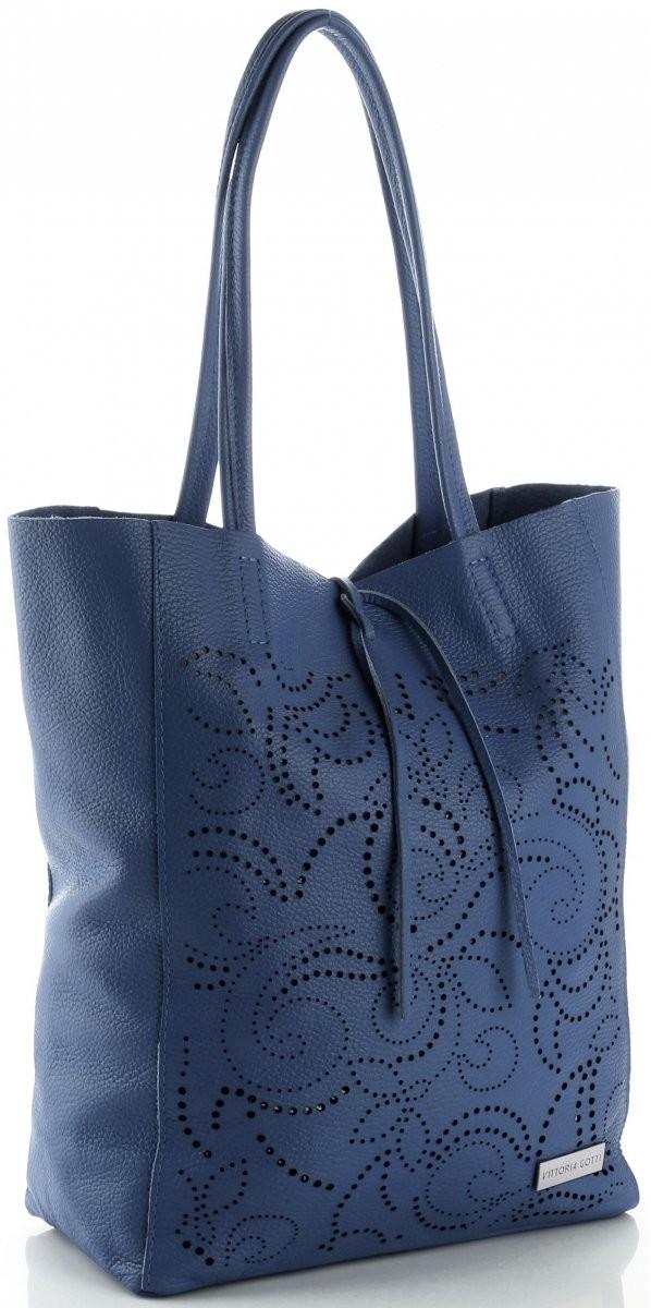 397173806032c Vittoria Gotti Modne Ażurowe Torebki Skórzane ShopperBag firmy Vittoria  Gotti Jeansowe (kolory) V299Fje