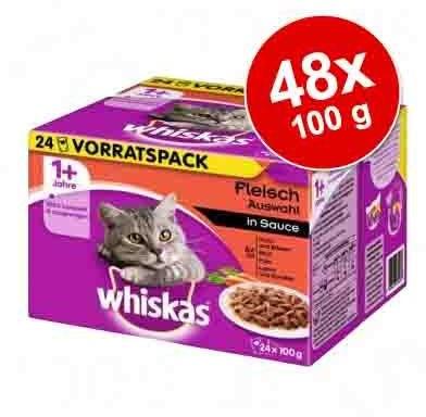 Whiskas Zestaw mieszany 1+ saszetki, 12 x 100 g - Wybór dań mięsnych w sosie