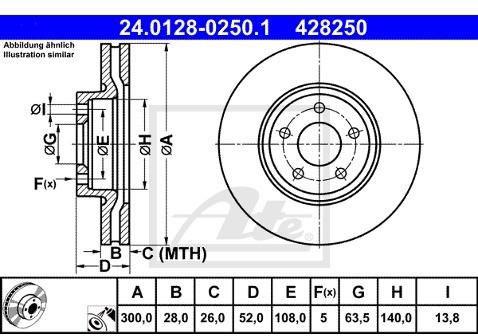ATE TARCZA HAM 24.0128-0250.1 FORD MONDEO 1.6TDCI 115KM 11-, 1.8TDCI 100KM 07-  24.0128-0250.1