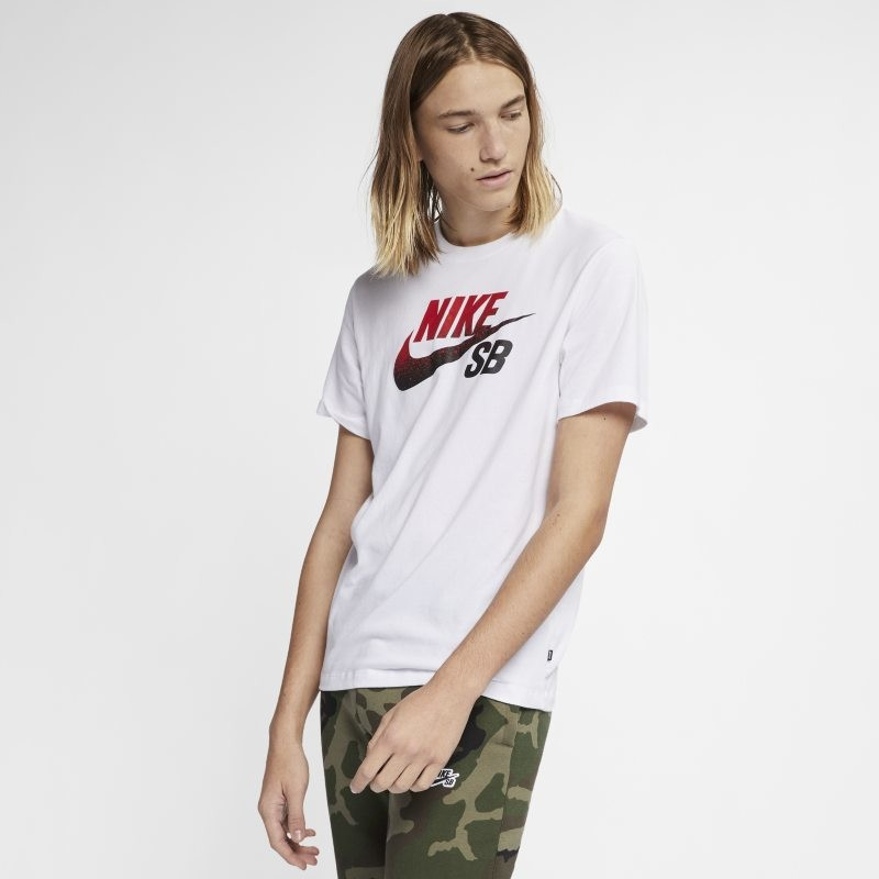 Nike Męski T-shirt do skateboardingu z logo SB Dri-FIT - Biel BV7433-101