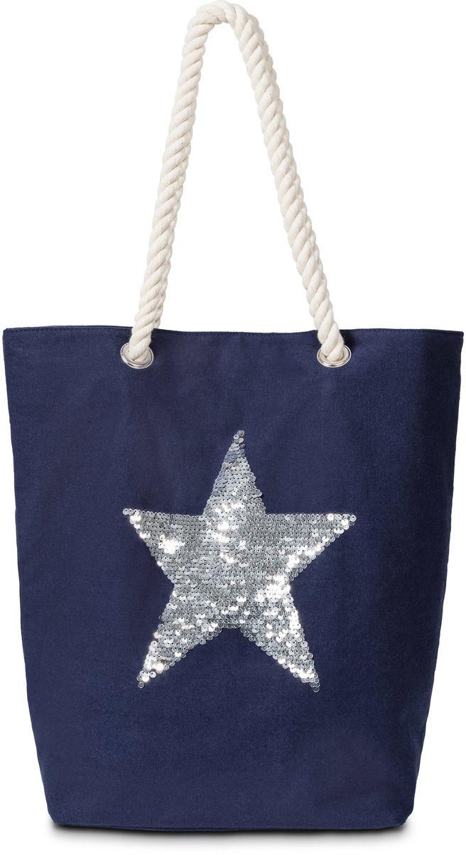 1842b2a47eb52 Bonprix Torba shopper z motywem gwiazdy ciemnoniebiesko-srebrny kolor