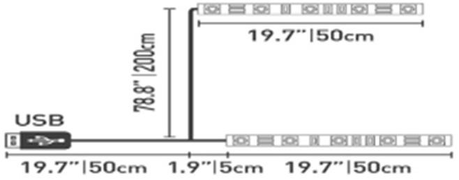 Milagro Taśma LED USB TV 2X50CM 3000K EKZ0576 Milagro