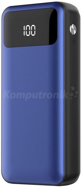 Platinet polymer LCD + micro USB 10000 mAh niebieski PMPB10XLBL
