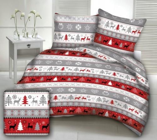 Inni Pościel 160x200 bawełniana świąteczna wzór Renifery, choinka czerwona WWW6