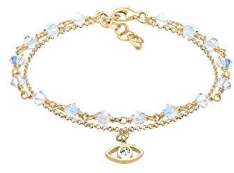 Elli Bransoletka bransoletka z kulek Layer Evil Eye 925damski  srebro kryształ biały 16cm0204822517_ 16 0204822517_16