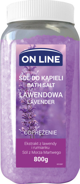 On Line Lawenda 800 g Odprężająca Sól do kąpieli On Line