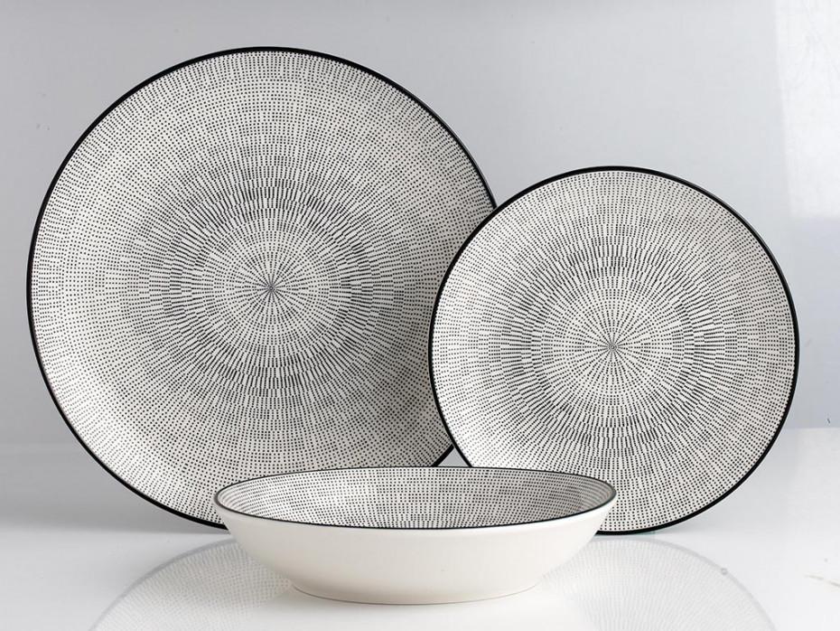 SIA Serwis obiadowy SIA z cienkiej porcelany OSIS - 18-częściowy - biały w czarne wzory