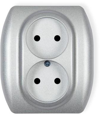 Karlik Trend srebrny metalik gniazdo podwójne bez uziemienia 7GP-2 7GP-2