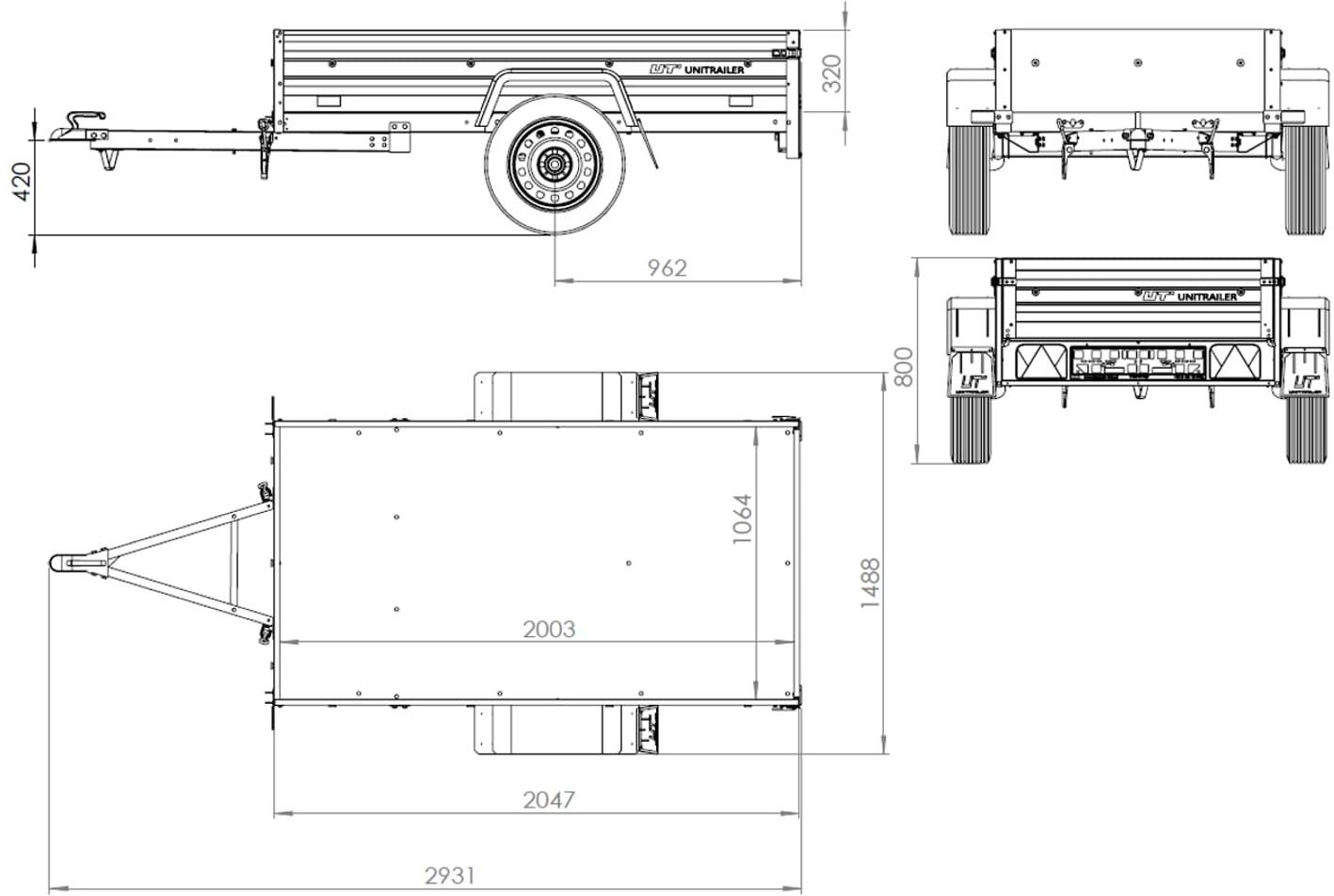 UNITRAILER Przyczepa do samochodu Garden Trailer 200 z burtami siatkowymi i stelażem z plandeką UT002196