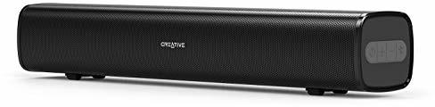 Creative Stage Air przenośny i kompaktowy monitor dźwiękowy, czarny (przenośny, kompaktowy, zasilany przez USB, pasywna membrana do dużego basu, Bluetooth, wejście AUX, 6 godzin pracy baterii)