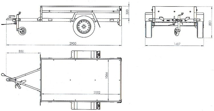 UNITRAILER Przyczepa samochodowa 200 x 106 lekka DMC 750 KG Garden Trailer 200 Unitrailer 178-uniw