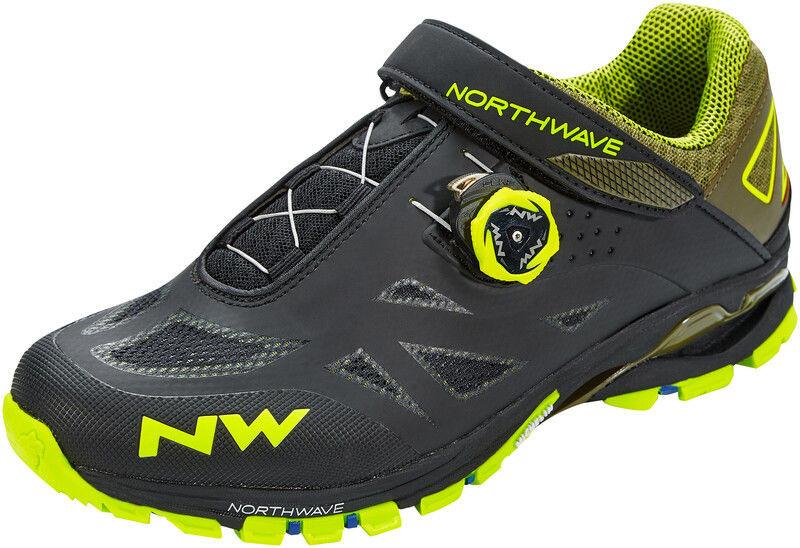 Northwave Spider Plus 2 Buty Mężczyźni, black/yellow fluo EU 43 2020 Buty MTB zatrzaskowe 80153008-04-43