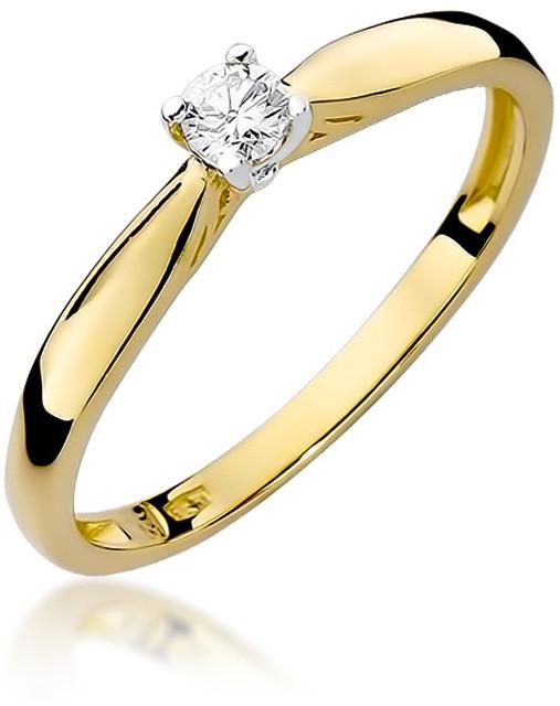 Terpiłowski Pierścionek w żółtym złocie w próbie 0,585 z brylantem 0,1 ct (BD - W - 45 Brylant 0,1   Z 12)