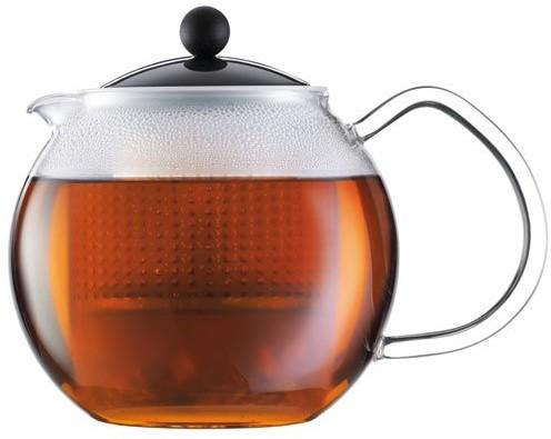 Bodum Assam zaparzacz do herbaty (szklany uchwytu, kolorową pokrywką, filtr stały tworzywo sztuczne), 1 l, czarny 1830-01