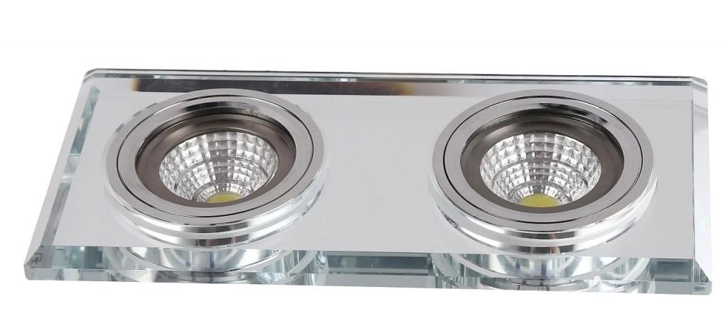 Auhilon Deco Lighting Oryginalny Plafon LUK II CLEAR Dwupunktowe Oświetlenie Podtynkowe Do Zabudowy Przeźroczyste Szkło CG-03/2