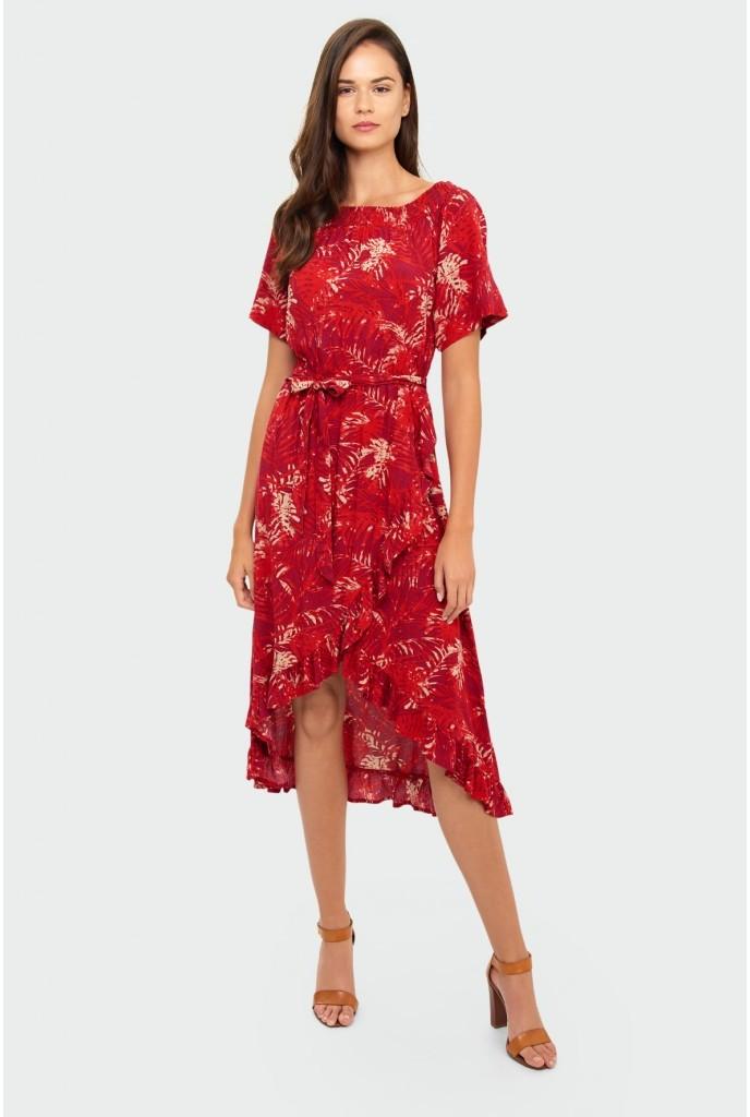 Greenpoint Czerwona wiskozowa sukienka 8K40GH 8K40GH SAM  36
