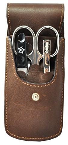 Pfeilring torba etui ze skóry bawolej, 3-częściowy Inox-wypełnienia (pilnik do paznokci, pęsety, nożyczki do paznokci), brązowe, 1er Pack (1 X 3 sztuki) 182420590