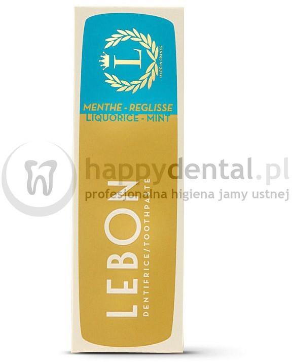 Lebon LEBON LIQUORICE MINT Toothpaste 75ml (niebieska) - pasta do zębów z naturalnych składników o smaku subtelnej mięty z domieszką lukrecji, zapewniająca niesamowite odświeżenie