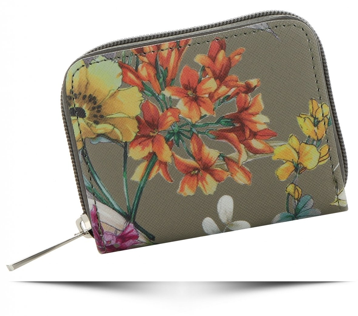 David Jones Modne Portfele Damskie we wzór kwiatów marki Multikolorowe Khaki (kolory) P079-311mkh